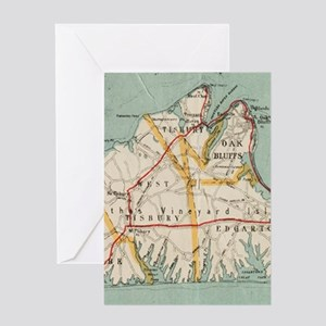 Vintage Map of Martha's Vineyard (1 Greeting Cards