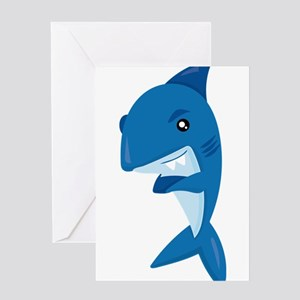 Friendly Sharks Arms Crossed Shark Greeting Cards