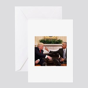 barack obama giving donald trump th Greeting Cards