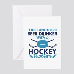 Beer Drinker Hockey Greeting Card