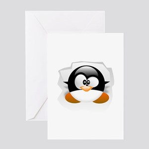 Tux looking up Greeting Card