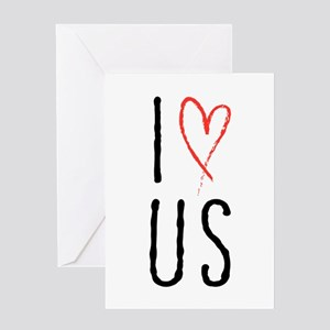 I love us text design with red heart Greeting Card