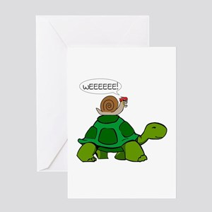 Snail on Turtle Greeting Cards