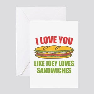 Friends Joey Loves Subs Greeting Cards
