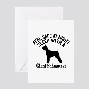 Sleep With Giant Schnauzer Dog Desig Greeting Card