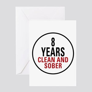 8 Years Clean & Sober Greeting Card