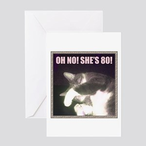 Funny 80th Birthday (Cat) Greeting Card