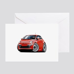 Fiat 500 Red Car Greeting Card