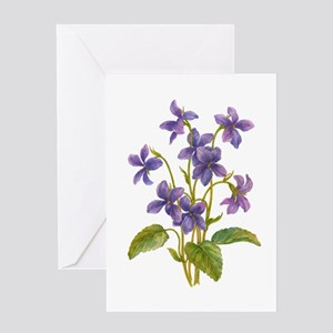 Purple Violets Greeting Cards