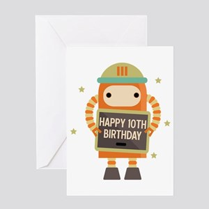Happy 10th Birthday Retro Robot Greeting Cards