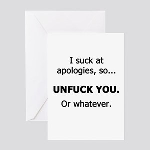 I Suck at Apologies Greeting Card