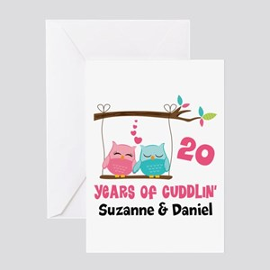 20th Anniversary 20 Years Owls Personalized Greeti