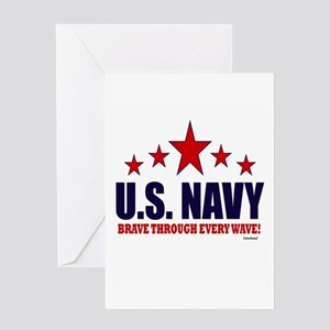 U.S. Navy Brave Through Every Wave Greeting Card