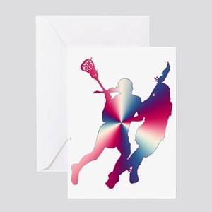 Lacrosse Red White and Blue Greeting Card