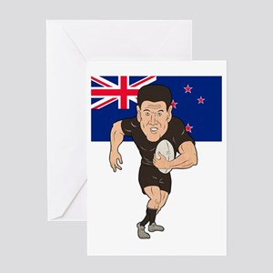 Rugby player running ball New Zealan Greeting Card
