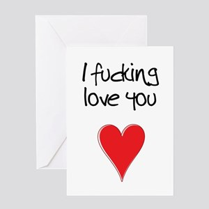 I Fucking Love You - Heart and Typo Greeting Cards