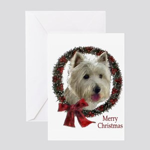 westie wreath Greeting Cards