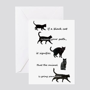Black Cat Crossing Greeting Cards