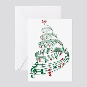 Christmas tree with music notes and  Greeting Card