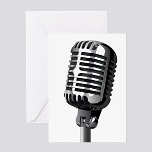 Isolated Stage Mic Greeting Cards