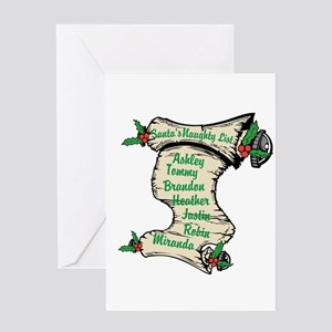 Santas Personalized Naughty List Greeting Cards
