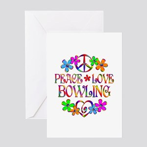 Peace Love Bowling Greeting Card