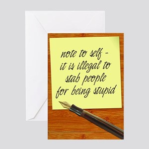 Note To Self Greeting Cards