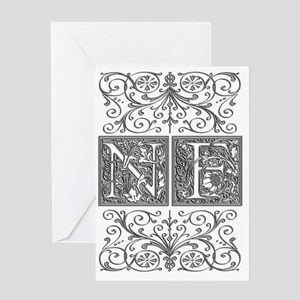 NF, initials, Greeting Card