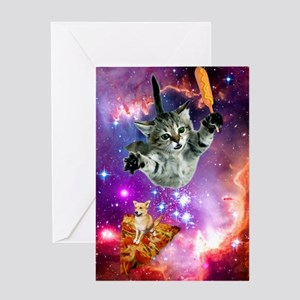 Space Cat with Magical Corn Dog Greeting Card