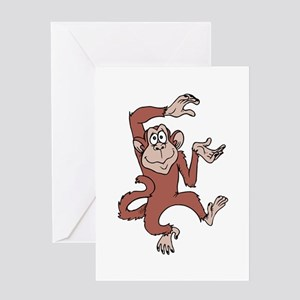 Monkey Excited Greeting Cards