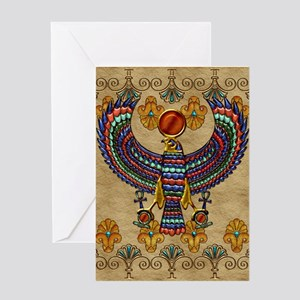 Harvest Moons Egypt Hawk Greeting Cards
