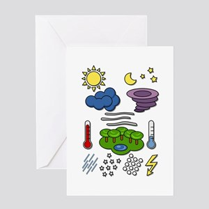 Weather chart symbols Greeting Cards