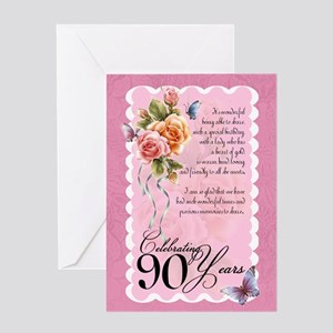 90th Birthday Card With Roses and Butterflies