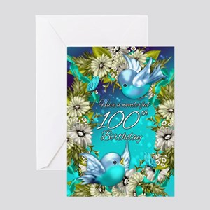 100th Birthday Greeting Card With Bluebirds
