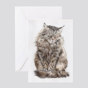 Maine Coon snoozing Greeting Cards