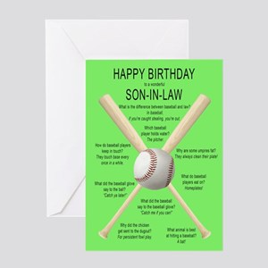Funny birthday card for son-in-law, awful basebal