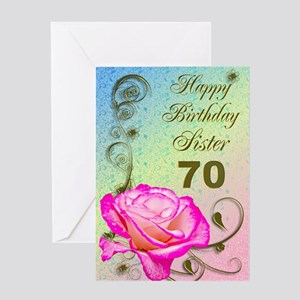 70th birthday card for sister, Elegant rose Greeti