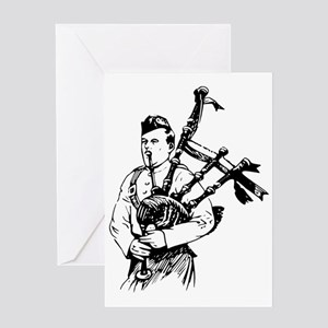 Man Playing Bagpipes Musical Instrum Greeting Card