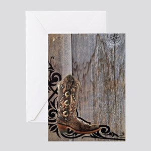 cowboy boots barnwood Greeting Card