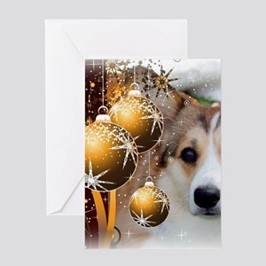 Holiday Sable Corgi Card Greeting Cards