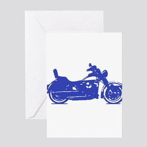 Motorcycle Blue Shadow Greeting Cards