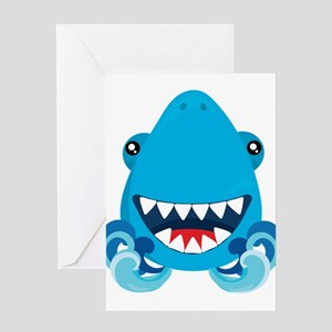 Friendly Sharks Smiling Shark Greeting Cards