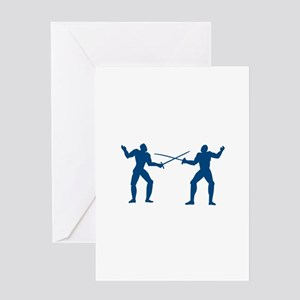 Men Fencing Greeting Cards