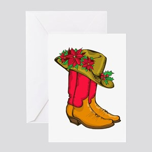 Christmas Cowboy Boots Greeting Cards