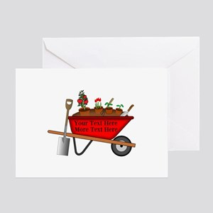 Personalized Red Wheelbarrow Greeting Card