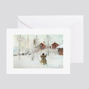 Winter Farm House Greeting Cards