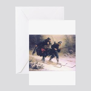 skiing art Greeting Cards