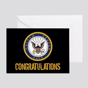 U.S. Navy: Congratulations (Black & Gold) Greeting