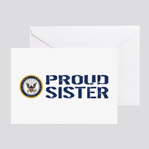U.S. Navy: Proud Sister (Blue & Whit Greeting Card
