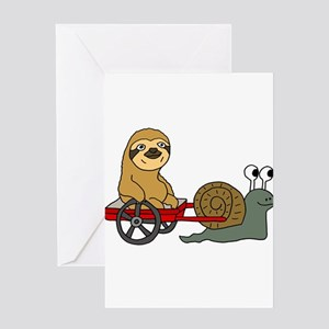 Snail Pulling Wagon with Sloth Greeting Cards